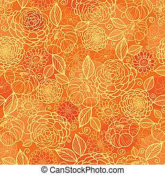 gouden, model, seamless, textuur, oranje achtergrond, floral