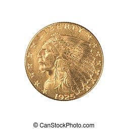 gouden munt, indiër, kwart, adelaar