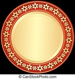 gouden, red-black, frame