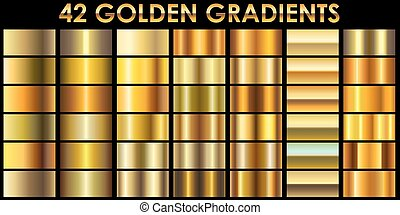 gouden, set, illustrator, kleur, 42, achtergrond., black , gradients