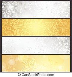 gouden, set, winter, helling, zilverachtig, banieren