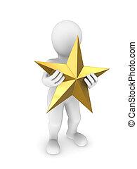 gouden, star., 3d, man