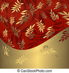 gouden, (vector), abstract, floral, frame, rood