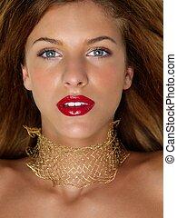 gouden, vrouw, beauty, edelstenen, closeup, verticaal