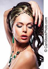 gouden, vrouw, visage, sjaal, -, jonge, helder, verticaal, zijde