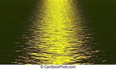 gouden, weerspiegelen, ocean., licht