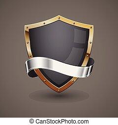 gouden, zilver, schild