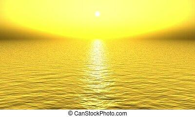 gouden, zon, weerspiegelen, zee, licht
