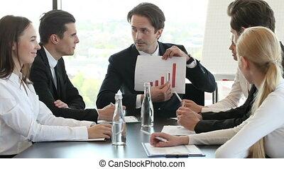grafiek, bemannen vergadering, zakelijk, tonen