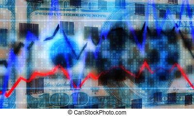 grafiek, codes, geld, lus, bar