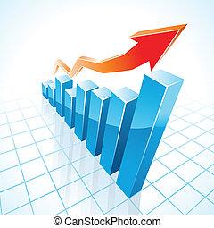 grafiek, groei, bar, zakelijk, 3d
