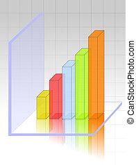 grafiek, transparant, 3d