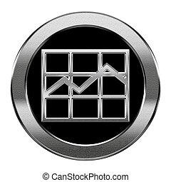 grafiek, vrijstaand, achtergrond., zilver, witte , pictogram