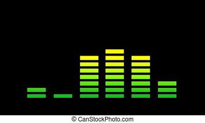 grafisch, klem, analyse, muziek, equalisers, audio