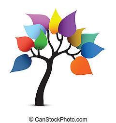 grafisch, kleur, boompje, fantasie, vector, design.