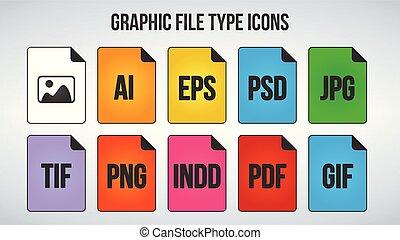 grafisch, set, beeld, vrijstaand, icons., achtergrond., vector, illustratie, bestand, formaten, witte , of