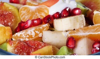 granaatappel, kiwi, slaatje, zaden, bovenzijde, perziken, fruit, mandarijn, figs, aanzicht, banaan, sinaasappel