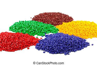 granules, kleurrijke, plastic