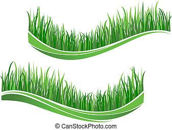 gras, groene, golven