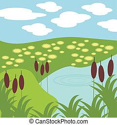 gras, meer, illustratie
