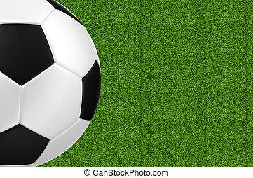 gras, op, bal, groene achtergrond, voetbal