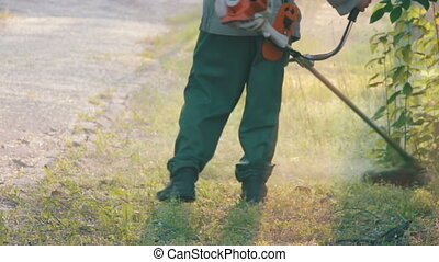 grasmaaimachine, groene, mows, gras, tuinman