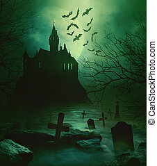 graveyard, griezelig, spooky, dons, onder, kasteel