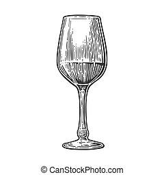 gravure, glas, wijn., ouderwetse