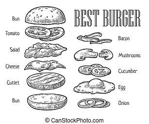 gravure, info, grafisch, poster, ingredients., ouderwetse , web, hamburger, vector, illustratie, menu, spandoek