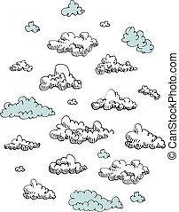 gravure, set, wolken, eps8, vector