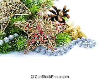 grens, vrijstaand, kerstmis, ontwerp, versiering, witte