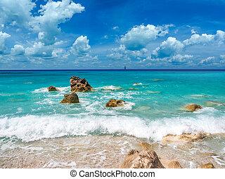 griekenland, avali, strand, lefkas