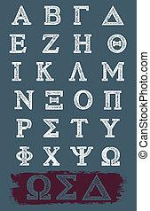 griekse , vector, grunge, alfabet