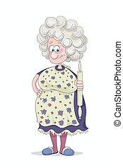 grijs, haar, jurkje, grootmoeder, gekke , haar, hand, het glimlachen, cover-slut, spelden, wikkeling, bloemrijk, paarse