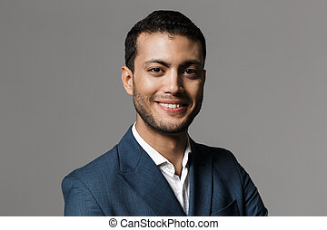 grijs, het glimlachen, succesvolle , op, 30, vrijstaand, fototoestel, achtergrond, kostuum, zakenman, arabische , beeld, formeel