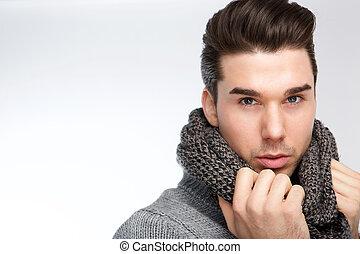 grijs, jonge, het poseren, modieus, wol, sjaal, man