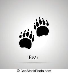 grijs, silhouette, afdrukken, eenvoudig, beer, poten, stappen, black