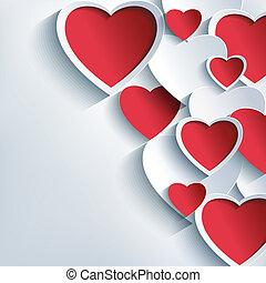 grijs, valentines, achtergrond, hartjes, modieus, dag, rood, 3d