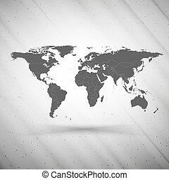 grijs, vector, grunge, kaart, textuur, achtergrond, illustratie, wereld