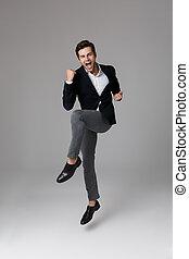 grijs, volle, het schreeuwen, positief, op, 30, vrijstaand, dichtklemmen, lengte, achtergrond, kostuum, zakenman, formeel, beeld, vuisten