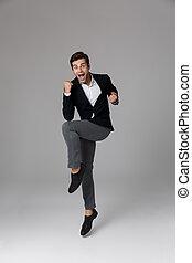 grijs, volle, het schreeuwen, vuisten, op, 30, vrijstaand, dichtklemmen, lengte, achtergrond, kostuum, zakenman, mooi, beeld, formeel
