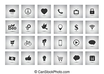 grijs, voorwerpen, zakelijk, plat, iconen, diversen