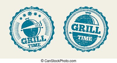 grill, ouderwetse , menu, illustratie, stamp., vector, zeehondje, barbecue, biefstuk, bbq