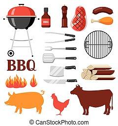grill, set, bbq, voorwerpen, iconen