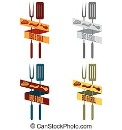 grill, set, restaurant, ouderwetse , spandoek, bbq