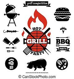 grill, voorwerpen, feestje