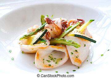 grilled, afsluiten, calamari., op