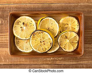 grilled, afsluiten, citroen, op, schijfen