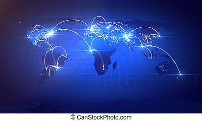 groeiende, network., globale zaak