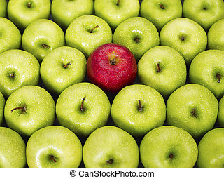 groen appel, rood